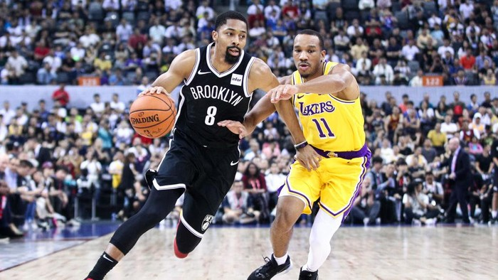 SHENZHEN, CHINA - OCTOBER 12: #8 Spencer Dinwiddie of the Brooklyn Nets in action during the match against #11 Avery Bradley of the Los Angeles Lakers during a preseason game as part of 2019 NBA Global Games China at Shenzhen Universiade Center on October 12, 2019 in Shenzhen, Guangdong, China. (Photo by Zhong Zhi/Getty Images)