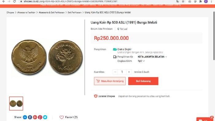 Ada Lagi, Uang Koin Gopean Dijual Rp 250 Juta!