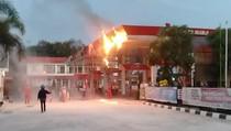 Atap SPBU di Jalan Klaten-Boyolali Terbakar