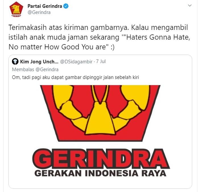 Capture Twitter Gerindra membalas cuitan logo garuda diganti lobster (Dok. Screenshot Twitter Gerindra)