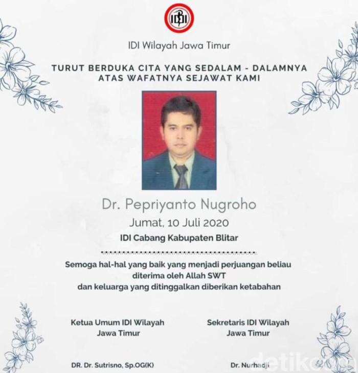 dr Pepriyanto Nugroho di Kabupaten Blitar meninggal