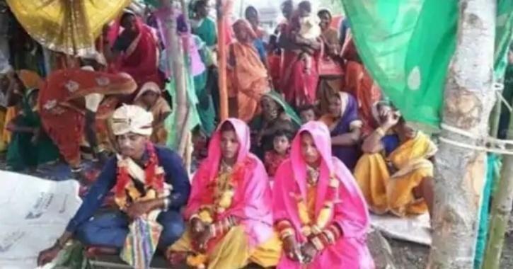 Sandeep Uike dan dua wanita yang dinikahinya secara bersamaan.