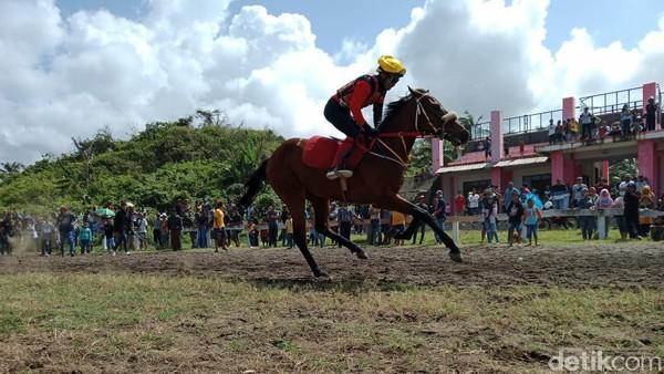 Berwisata ke Pangandaran, traveler bisa bonus tontonan yang seru dan menegangkan. Di sana ada tempat latihan atlet berkuda, tepatnya di arena pacuan kuda Legok Jawa. (Faizal Amiruddin/detikTravel)