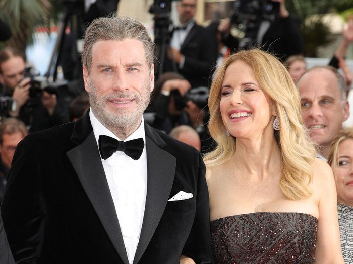 CANNES, FRANCE - MAY 15:  John Travolta and Kelly Preston attend the screening of