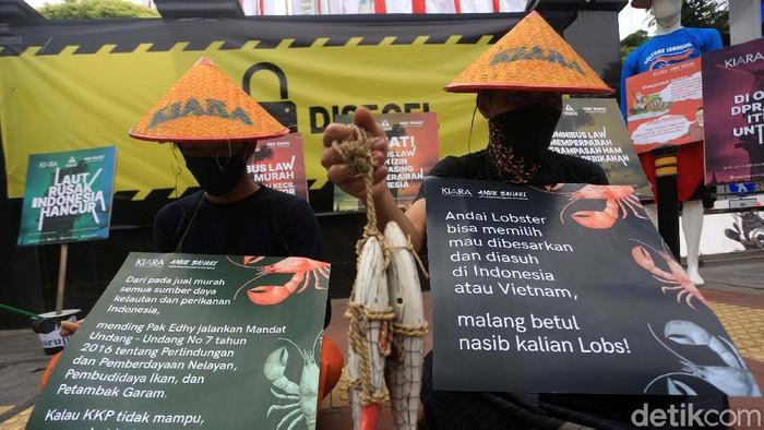 Izin ekspor benih lobster yang dikeluarkan pemerintah terus mendapat penolakan. Para aktivis dari KIARA hari berdemo di gedung KKP dan 'menyegel' gedung tersebut.