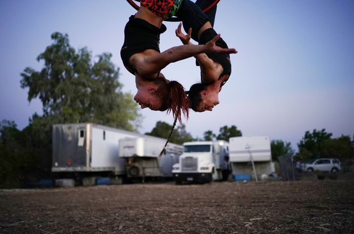 Lisa Varmbo Martonovich, left, and Nicole England-Czyzewski practice an aerial routine for
