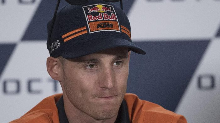 MISANO ADRIATICO, ITALY - SEPTEMBER 14: Pol Espargaro of Spain and Red Bull KTM Factory Racing speaks during the press conference at the end of the qualifying practice  during the MotoGp of San Marino - Qualifying at Misano World Circuit on September 14, 2019 in Misano Adriatico, Italy. (Photo by Mirco Lazzari gp/Getty Images)