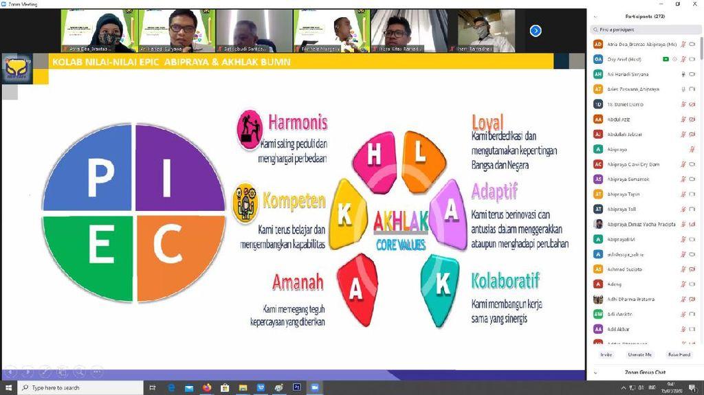 Bentuk Karyawan Milenial Ber-Akhlak Epic, Brantas Abipraya Gelar Webinar