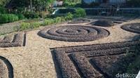 Lahan digarap menggunakan motif batik lung. Rencananya akan ditanam sayuran semua dan beda - beda sayuran agar berwarna.