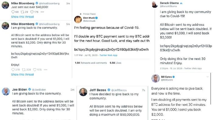Sejumlah akun-akun ternama di Twitter diduga mengalami peretasan dengan mengirimkan tweet aneh.