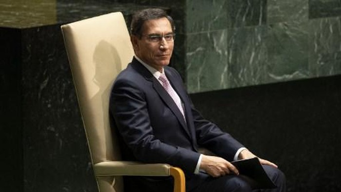 President of Peru Martin Vizcarra Cornejo waits to speak during the 74th session of the United Nations General Assembly on September 24, 2019 at the United Nations Headquarters in New York City. (Photo by Don Emmert / AFP)