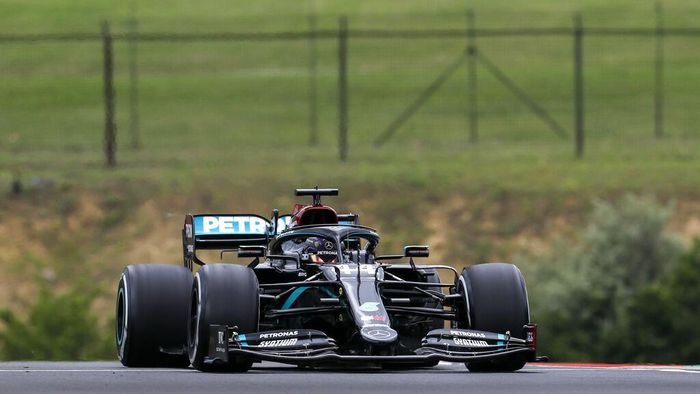 Mercedes driver Lewis Hamilton of Britain steers his car during the first practice session for the Hungarian Formula One Grand Prix at the Hungaroring racetrack in Mogyorod, Hungary, Friday, July 17, 2020. The Hungarian F1 Grand Prix will be held on Sunday. (Leonhard Foeger/Pool via AP)