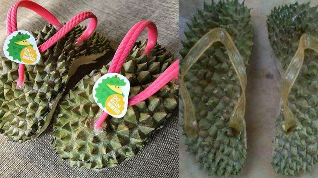 Cadas! Sandal Jepit dari Cangkang Durian Ini Viral