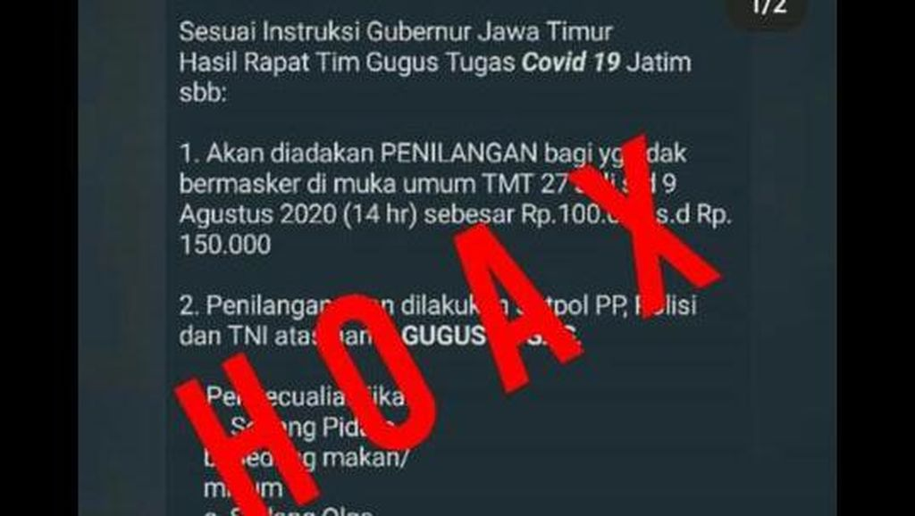 Viral Instruksi Gubernur Jatim Denda Warga Tidak Bermasker Rp 150 Ribu, Hoaks
