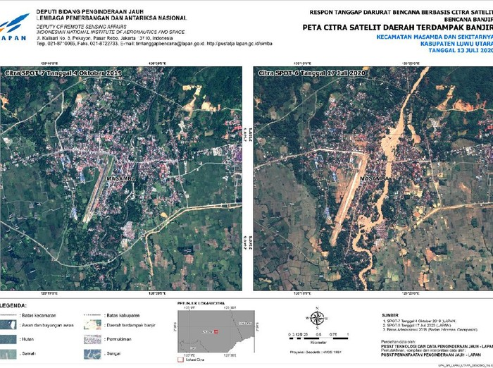 Lembaga Penerbangan dan Antariksa Nasional (Lapan) memotret kerusakan banjir bandang di Masamba Luwu Utara, Sulawesi Utara dengan memanfaatkan satelit penginderaan jauh.