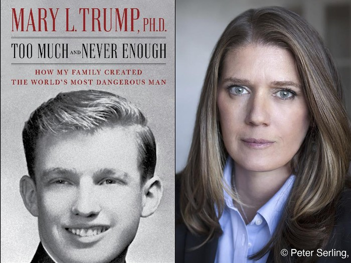 This combination photo shows the cover art for Too Much and Never Enough: How My Family Created the World's Most Dangerous Man, left, and a portrait of author Mary L. Trump, Ph.D. The book, written by the niece of President Donald J. Trump, was originally set for release on July 28, but will now arrive on July 14. (Simon & Schuster, left, and Peter Serling/Simon & Schuster via AP)