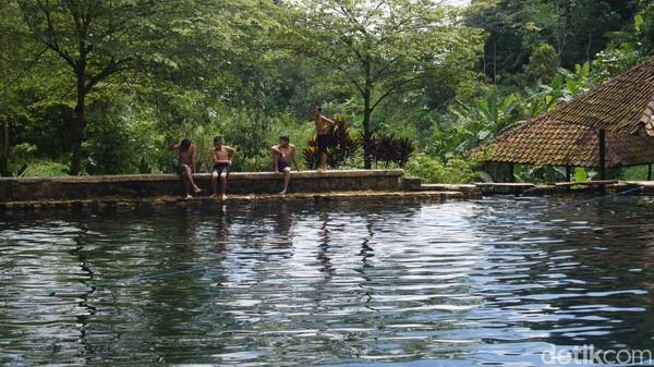 Telaga Cisaladah memiliki air yang sangat jernih. Tanpa alas keramik, di dasar kolam ditumbuhi semacam rumput yang bisa tumbuh di dalam air. Ada juga bebatuan yang sudah terendam sejak dulu sehingga agak licik saat dipijak. Ada juga belasan ekor ikan mas beragam ukuran yang sengaja dipelihara warga. (Whisnu Pradana/detikcom)