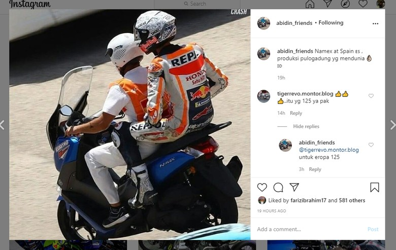 Alex Marquez naik Yamaha Nmax buatan Indonesia