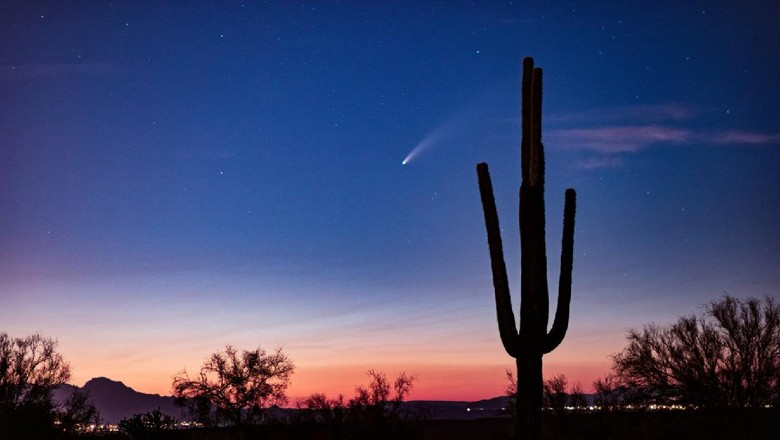Comet Neowise soars across the night sky in the desert near Phoenix, Arizona.