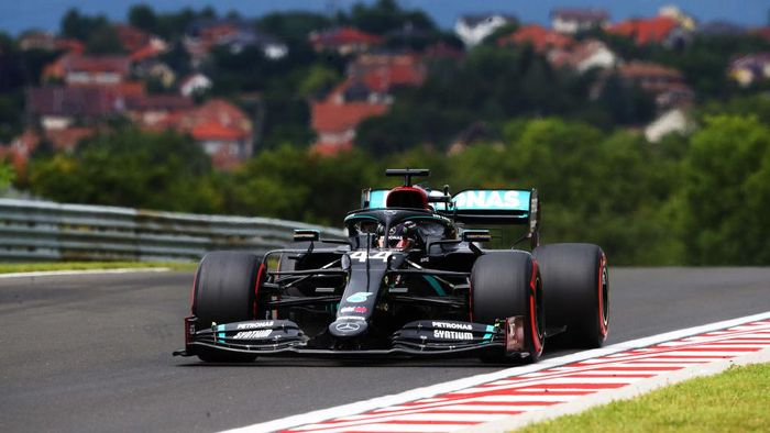 BUDAPEST, HUNGARY - JULY 18: Lewis Hamilton of Great Britain driving the (44) Mercedes AMG Petronas F1 Team Mercedes W11 on track during final practice for the F1 Grand Prix of Hungary at Hungaroring on July 18, 2020 in Budapest, Hungary. (Photo by Bryn Lennon/Getty Images)