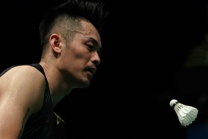 KUALA LUMPUR, MALAYSIA - APRIL 07: Lin Dan of China in action on day six of the Badminton Malaysia Open at Axiata Arena on April 07, 2019 in Kuala Lumpur, Malaysia. (Photo by Stanley Chou/Getty Images)