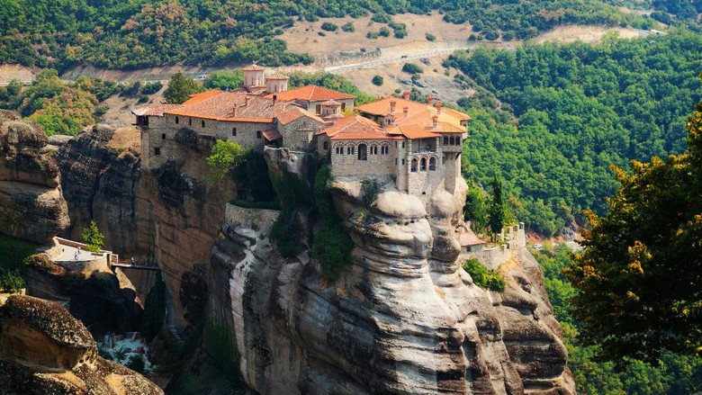 Meteora Clifftop Monasteries in Greece, one of the most important complexes of Eastern Orthodox monasteries. It is near small town Kalambaka.