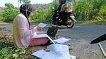 Susah Sinyal, Mahasiswa di Magelang Belajar di Pinggir Jalan