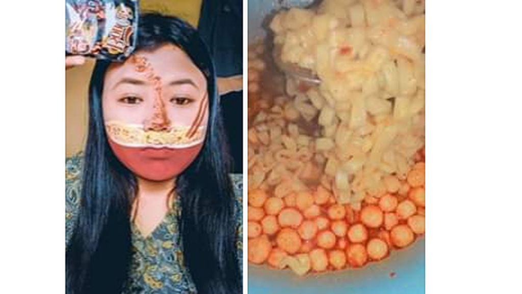 Wanita Ini Bikin Face Painting Semangkuk Mie Instan Pedas