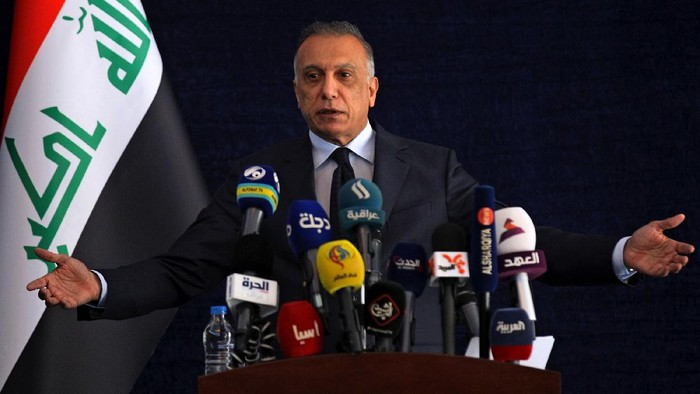 Iraqi Prime Minister Mustafa al-Kadhimi speaks to journalists during his visit to Basra, Iraq, Wednesday, July 15, 2020. (Ahmed al-Rubaye/Pool Photo via AP)