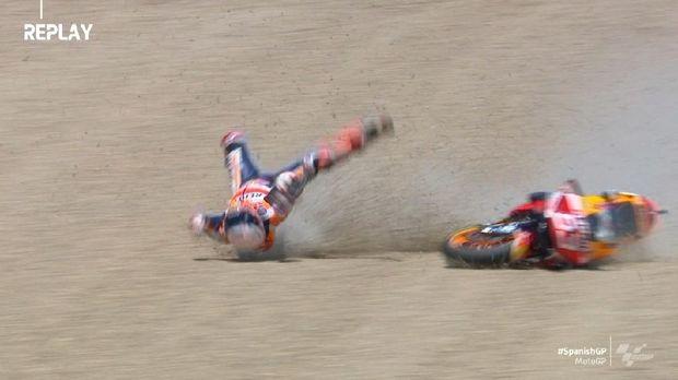 detik detik marc marquez kecelakaan di motogp spanyol