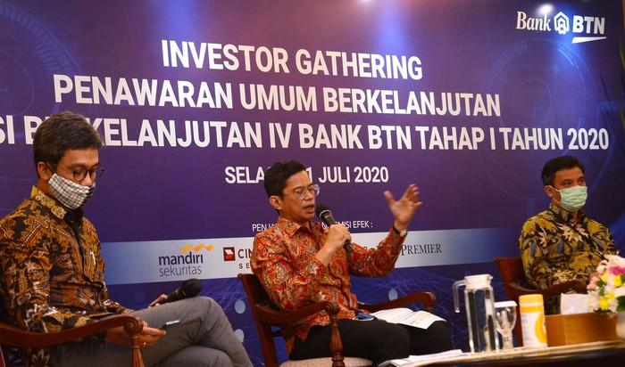 PT Bank Tabungan Negara (BTN) (Persero) Tbk. menerbitkan Obligasi Berkelanjutan BTN-4 tahap I senilai Rp 1,5 triliun. Hasil penjualannya guna mendukung ekspansi kredit dukung sektor riil.
