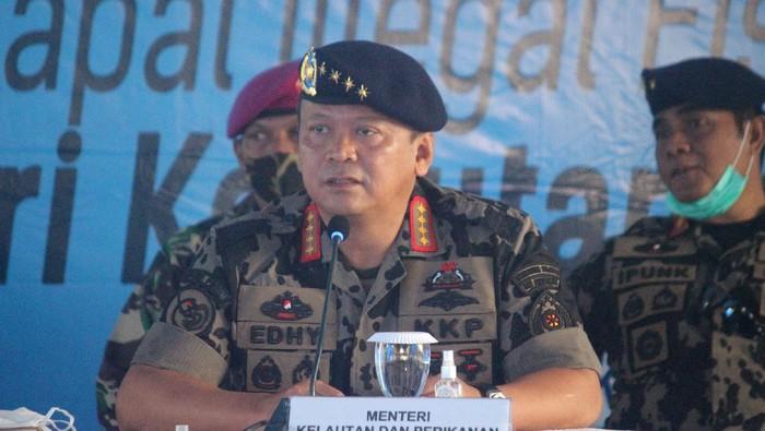 Menteri KKP Edhy Prabowo cerita keberhasilan KKP tangkap kapal asing pencuri ikan di laut RI (Foto: Adi Saputro/detikcom)