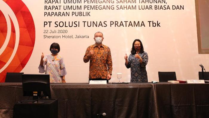 PT Solusi Tunas Pratama Tbk gelar paparan publik di Jakarta, Rabu (22/7). Perusahaan penyewaan gedung menara BTS itu meraup pendapatan Rp 463,7 M di Q1 2020.