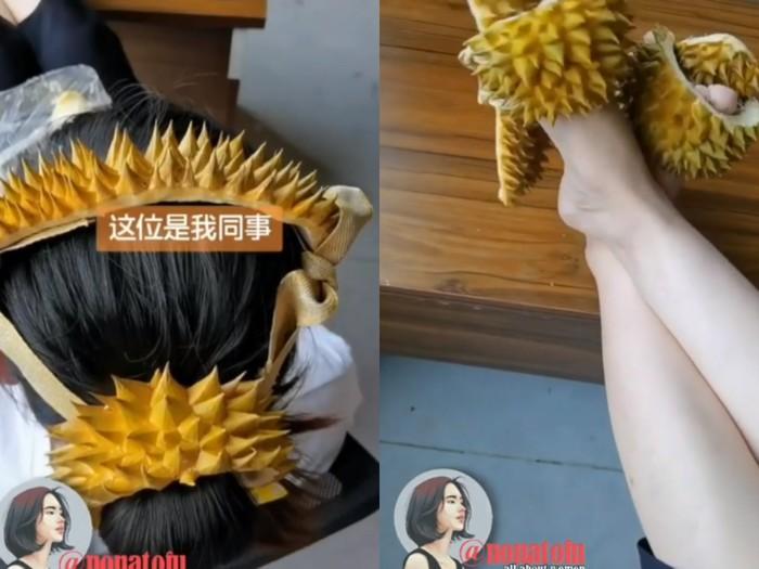 Kulit durian dipakai jadi bandana hingga sandal