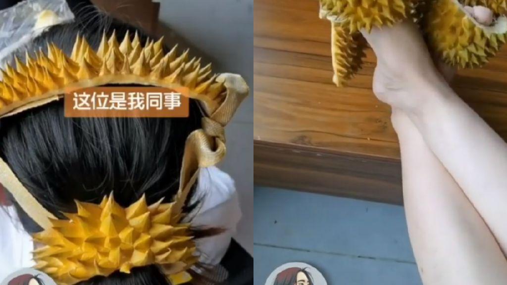 Kelewat Kreatif! Kulit Durian Dijadikan Bandana hingga Sandal