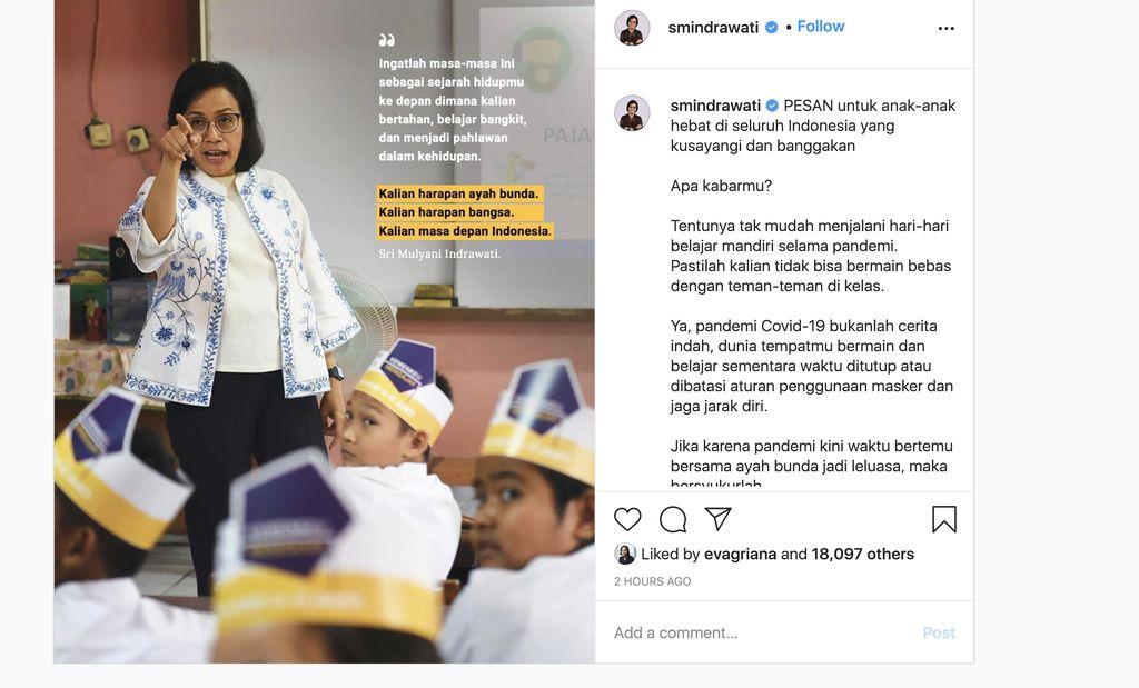 Menteri Keuangan Sri Mulyani (Tangkapan Layar Instagram)