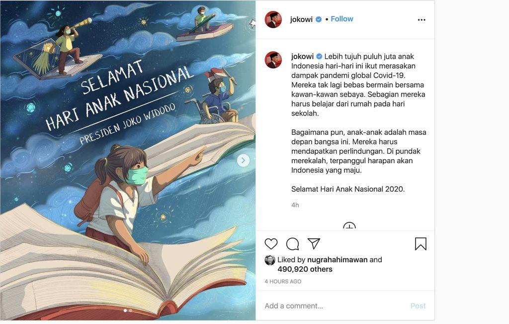 Presiden Jokowi ucapkan hari Anak Nasional (Instagram Jokowi)