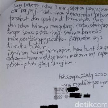 Surat pernyataan emak-emak yang viral main TikTok di Exit Tol Setono, Kota Pekalongan.