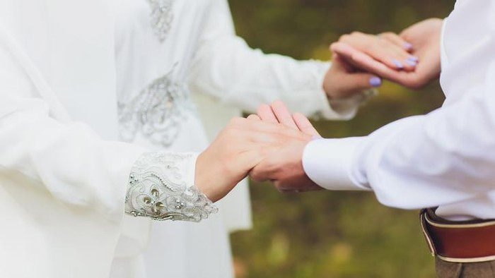 National wedding. Bride and groom. Wedding muslim couple during the marriage ceremony. Muslim marriage