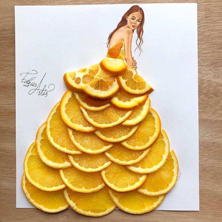 Sketsa Gaun Ini Dihias Pakai Bahan Makanan