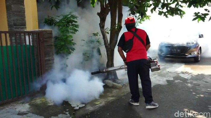 Sudah ada enam warga yang terjangkit penyakit Demam Berdarah Dengue (DBD), warga perumahan Oesman Singawinata, di Kelurahan Negeri Kaler, Purwakarta melakukan pengasapan atau fogging.