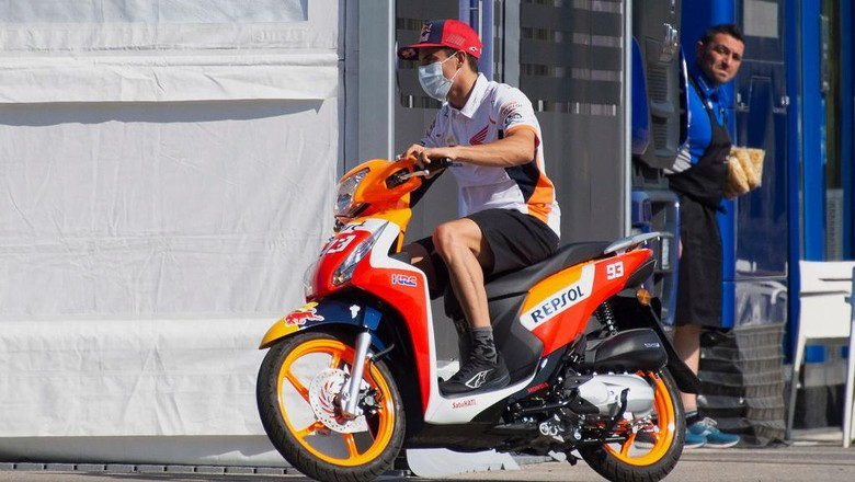 JEREZ DE LA FRONTERA, SPAIN - JULY 24: Marc Marquez of Spain and Repsol Honda Team drives the scooter in paddock  during the MotoGP of Andalucia - Free Practice at Circuito de Jerez on July 24, 2020 in Jerez de la Frontera, Spain. (Photo by Mirco Lazzari gp/Getty Images)
