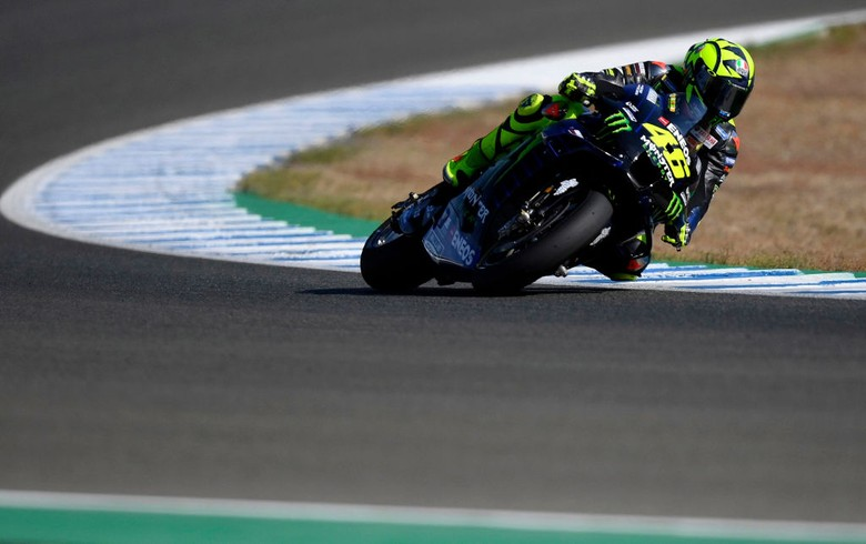 JEREZ DE LA FRONTERA, SPAIN - JULY 24: Valentino Rossi of Italy and Monster Energy Yamaha MotoGP Team rounds the bend during the MotoGP of Andalucia - Free Practice at Circuito de Jerez on July 24, 2020 in Jerez de la Frontera, Spain. (Photo by Mirco Lazzari gp/Getty Images)