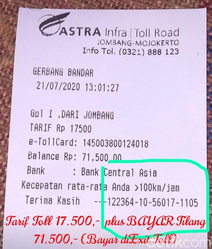 Beredar Hoaks Struk E Toll Plus Bayar Tilang di Tol Jombang-Mojokerto