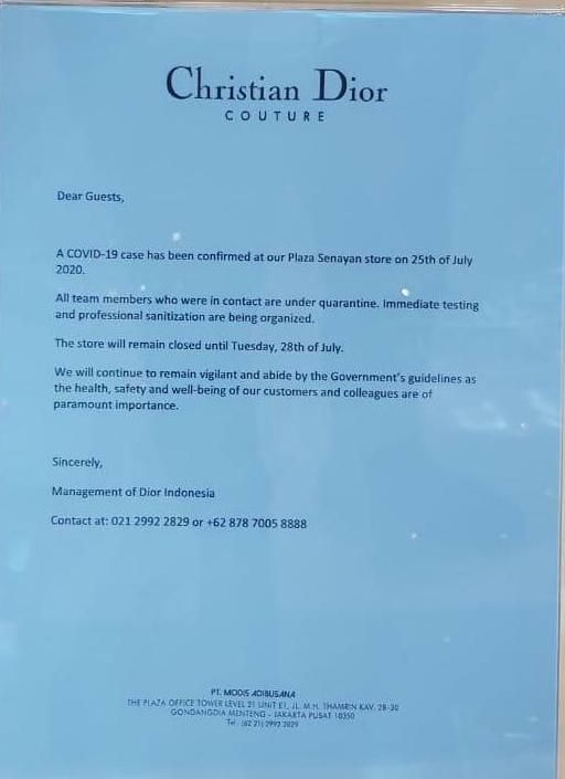 Butik Dior Plaza Senayan Jakarta Tutup