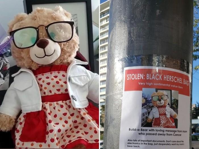 Boneka beruang milik Mara Soriano yang hilang.