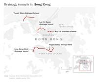Sistem anti banjir bernama Hong Kong West Drainage Tunnel ini dibangun membentang melalui perbukitan di belakang kota. Keberadaannya terselip kurang dari 12 meter di bawah permukaan.
