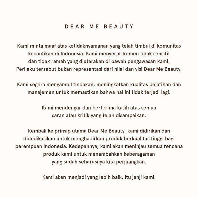 Klarifikasi dan permohonan maaf Dear Me Beauty di Instagram.