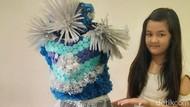 Siswi SD di Surabaya Bikin Gaun dari Botol Plastik Bekas