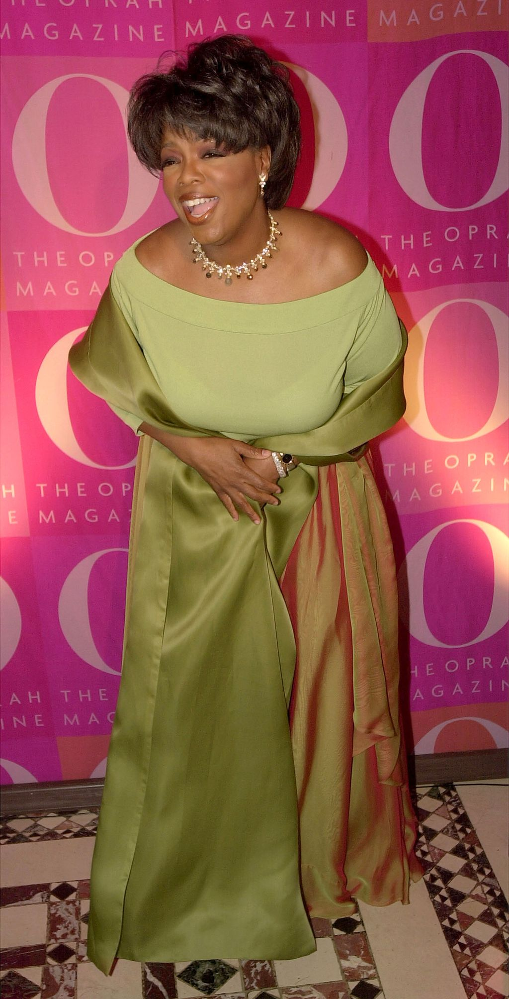 387978 01: Oprah Winfrey poses April 17, 2001 at a 1st anniversary party for O Magazine in New York. (Photo by Spencer Platt/Newsmakers)